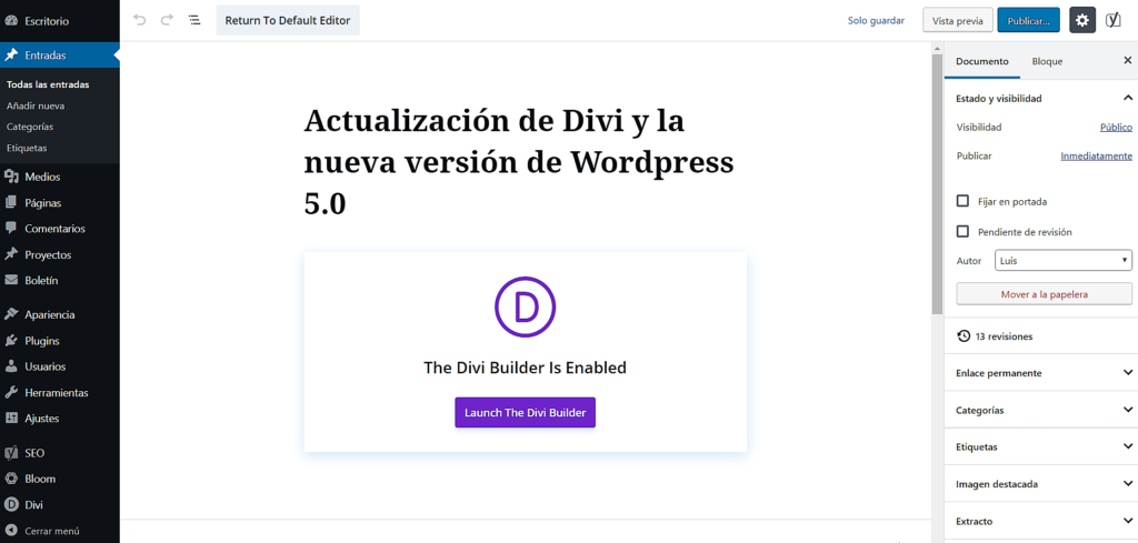 Divi con WordPress 5.0
